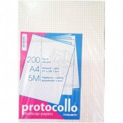FOGLI PROTOCOLLO A4 200FF 5MM - 1282