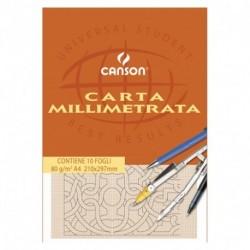BLOCCO CANSON CARTA MILLIMETRATA A4 10F